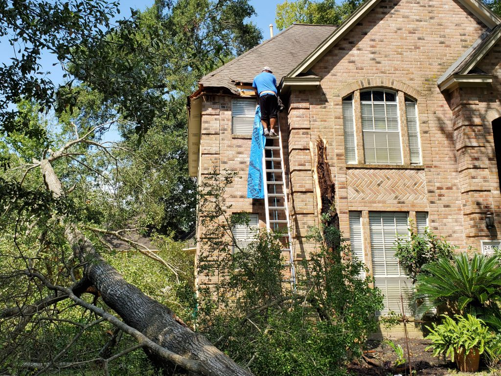 Storm damage roof repair in Houston